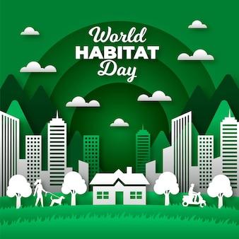 Dia mundial do habitat no conceito de estilo de papel