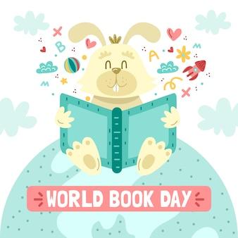 Dia mundial do livro com coelho e livro