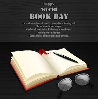 Dia mundial do livro com livro aberto