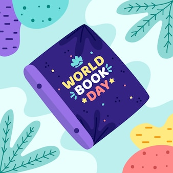 Dia mundial do livro com livro e folhas