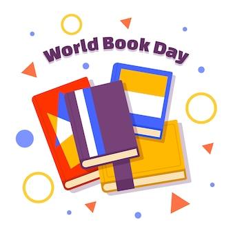 Dia mundial do livro com muitos livros