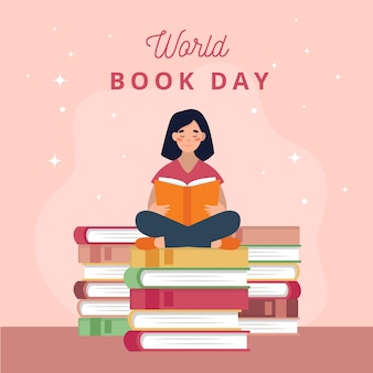 Dia mundial do livro com mulher lendo