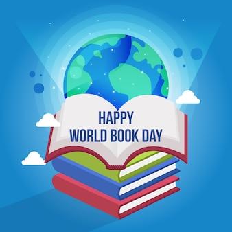 Dia mundial do livro com planeta e livros