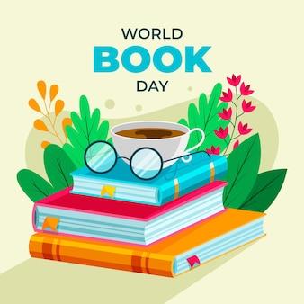 Dia mundial do livro do flat design