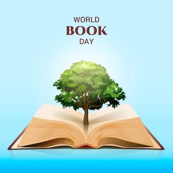 Dia mundial do livro e árvore verde mágica