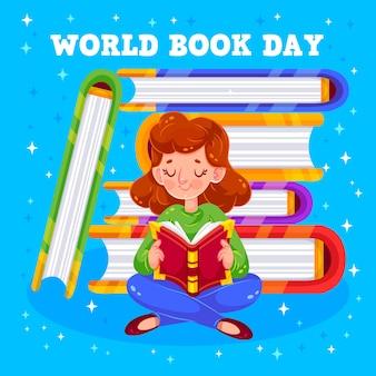 Dia mundial do livro e menina lendo