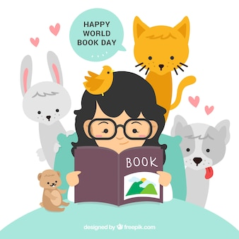 Dia mundial do livro feliz