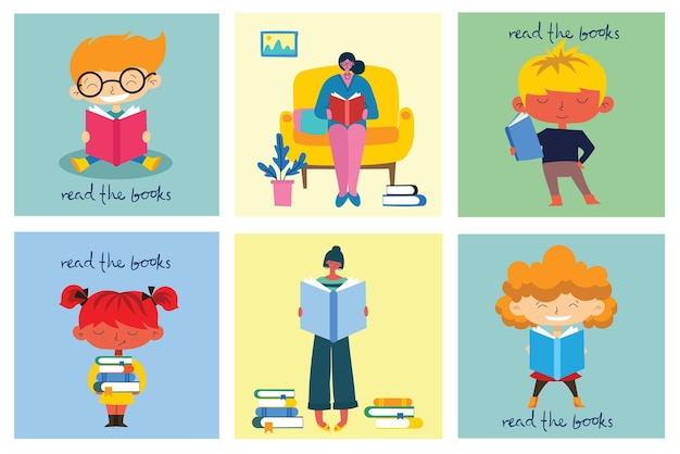 Dia mundial do livro, leitura dos livros e festival do livro em estilo plano. as pessoas se sentam, ficam de pé, andam e leem um livro