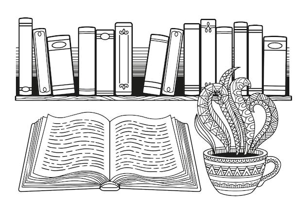 Dia mundial do livro. livros estilizados em preto e branco na prateleira e xícara de café ou chá.
