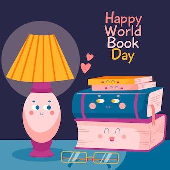 Dia mundial do livro mão desenhada com livros ilustrados