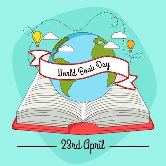 Dia mundial do livro mão desenhada design