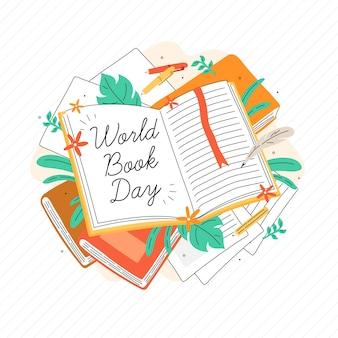 Dia mundial do livro mão desenhada estilo