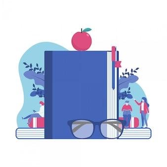 Dia mundial do livro minúsculo pessoas ilustração vetorial