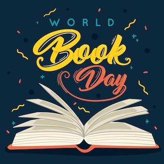 Dia mundial do livro na mão desenhada