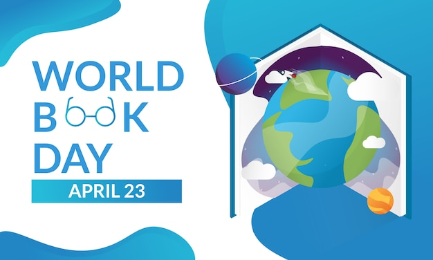Dia mundial do livro para a página de destino ou cartaz