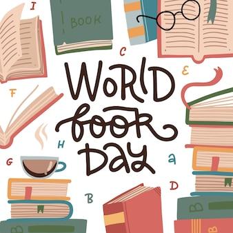 Dia mundial do livro. pilha de livros coloridos