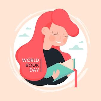 Dia mundial do livro plana com personagem