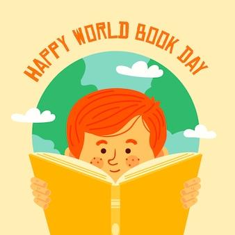 Dia mundial do livro plano com leitor