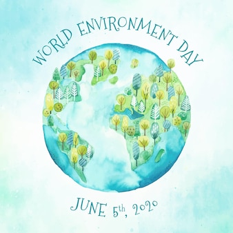 Dia mundial do meio ambiente aquarela com terra e natureza