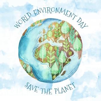 Dia mundial do meio ambiente aquarela com terra