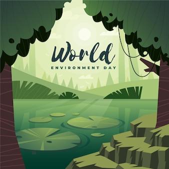 Dia mundial do meio ambiente com árvores e lago