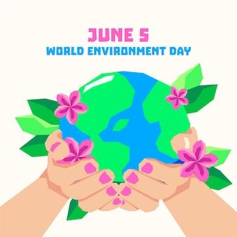 Dia mundial do meio ambiente com as mãos segurando o planeta