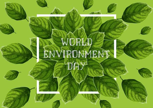Dia mundial do meio ambiente com folhas texturizadas verdes, quadro branco e texto