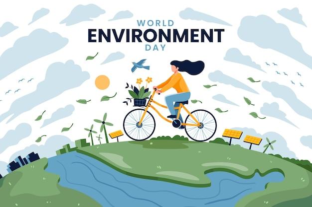Dia mundial do meio ambiente com mulher andando de bicicleta