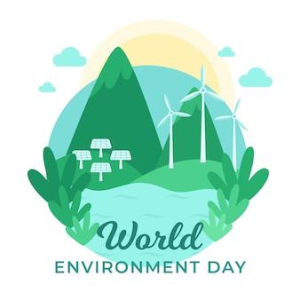 Dia mundial do meio ambiente com natureza paisagem