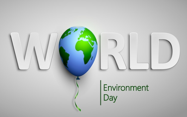Dia mundial do meio ambiente com o balão mundo planeta terra.