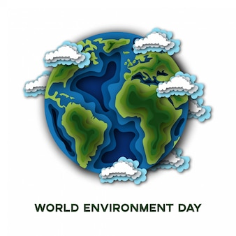 Dia mundial do meio ambiente com o planeta terra isolado no branco