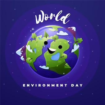 Dia mundial do meio ambiente com planeta e montanhas