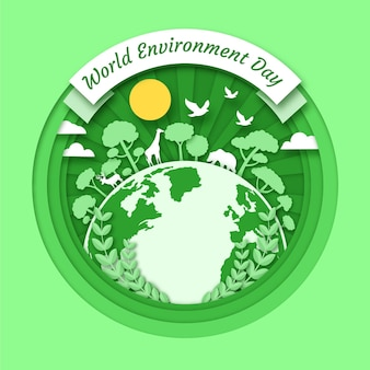 Dia mundial do meio ambiente com planeta e natureza
