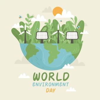 Dia mundial do meio ambiente de design plano