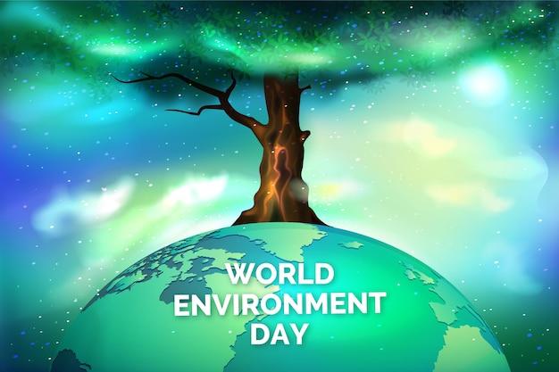 Dia mundial do meio ambiente realista com árvore e planeta