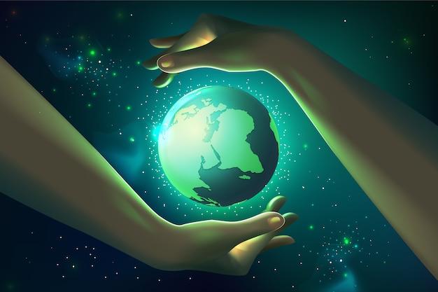 Dia mundial do meio ambiente realista com as mãos e o planeta
