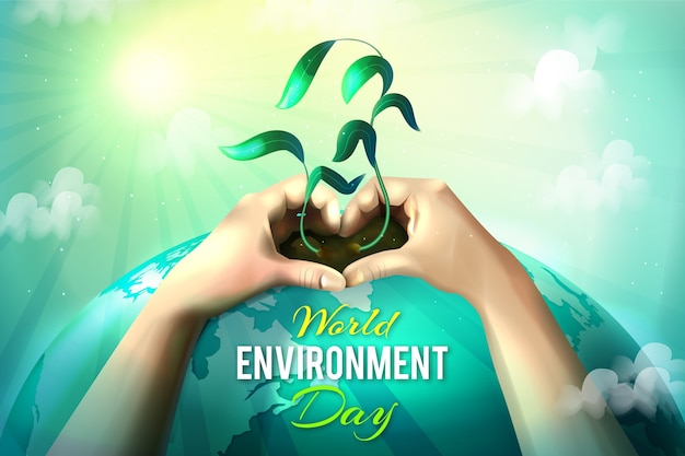 Dia mundial do meio ambiente realista com as mãos segurando a planta