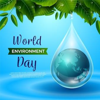 Dia mundial do meio ambiente realista com o planeta na gota de chuva
