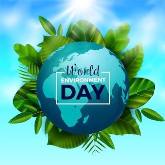 Dia mundial do meio ambiente realista com planeta e folhas