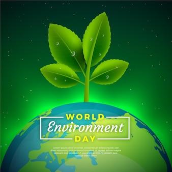Dia mundial do meio ambiente realista com planta e terra