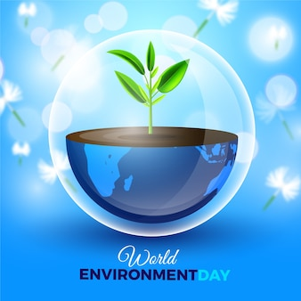 Dia mundial do meio ambiente realista com planta que cresce da terra