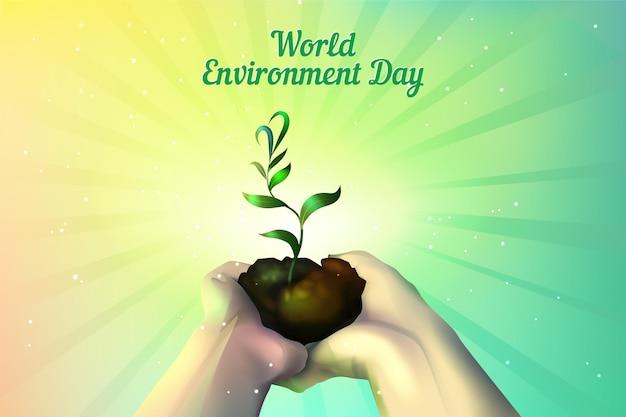 Dia mundial do meio ambiente realista com planta que cresce nas mãos