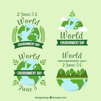 Dia mundial do meio ambiente rótulos coleção com data