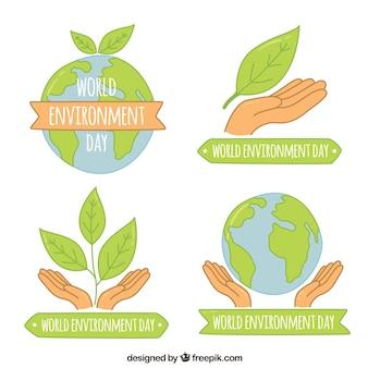 Dia mundial do meio ambiente rótulos com folhas coleção