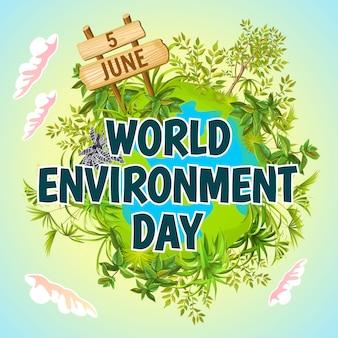 Dia mundial do meio ambiente. terra verde.