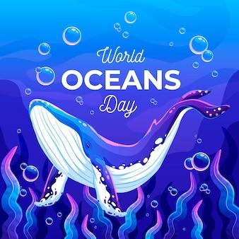 Dia mundial do oceano de baleias e corais