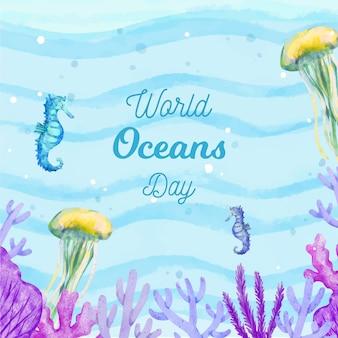 Dia mundial do oceano de vida subaquática em aquarela
