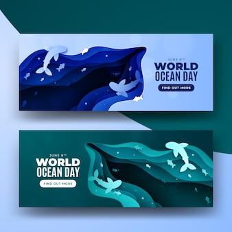 Dia mundial do oceano papel estilo ondas banner