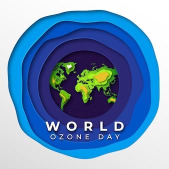 Dia mundial do ozônio em estilo papercut
