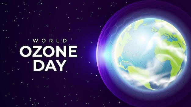 Dia mundial do ozônio realista com camada de ozônio da barreira hexagonal